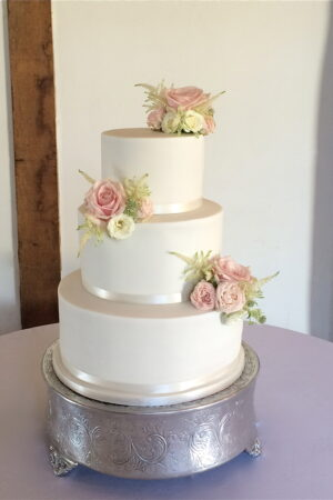 3 tier with fresh flower sprays at Loseley Park