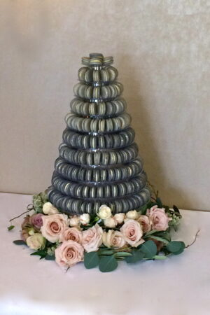 Grey & gold speckled Macaron Tower at  The Bingham