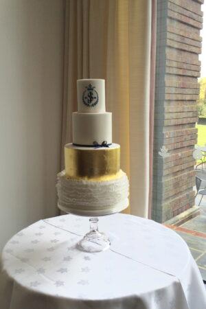 Gold Leaf & Ruffle Monogram Cake at The Lensbury