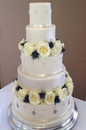 Ivory Rose & Thistle Wedding Cake