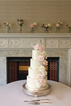 4 Tier sugar rose cascade cake at Morden Hall