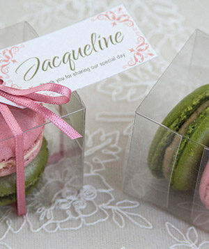 Raspberry & Pistachio Macarons -- tags by lauraritchiedesigns.co.uk
