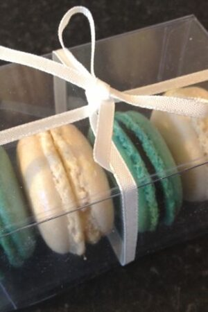 Turquoise pearl macaron favours